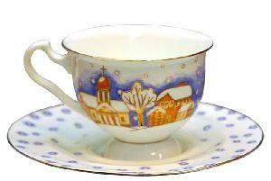 Чашка с блюдцем чайная Снегопад