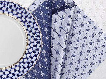 Подарочный набор 6 салфеток Мати серо-синяя