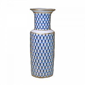 Ваза для цветов 270 мм Цилиндрическая Кобальтовая сетка