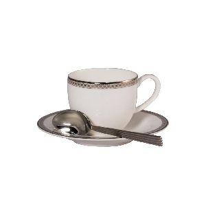 """Набор 6 кофейных пар 100мл """"Серебрянная вышивка""""+ 6 кофейных ложек"""