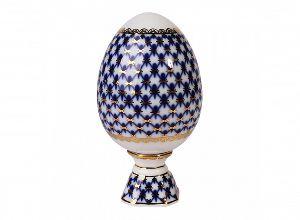 Яйцо пасхальное на подставке 132 мм Кобальтовая сетка