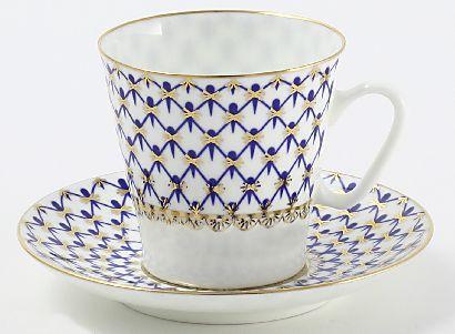 Кофейная пара 80 мл Черный кофе Кобальтовая сетка 1/2