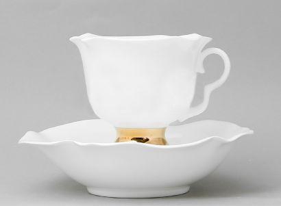 Чайная пара 200 мл Белый цветок Золотая лента 1/2