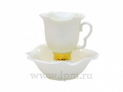 Кофейная пара 100 мл Белый цветок Золотая лента 1/2